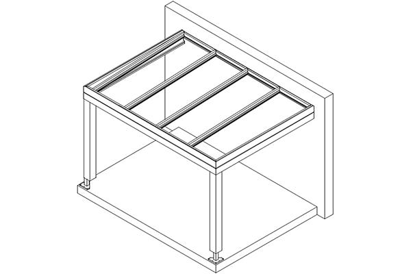 Skizze Aluminium Flachdach für Terrassenüberdachung - Wandmontage