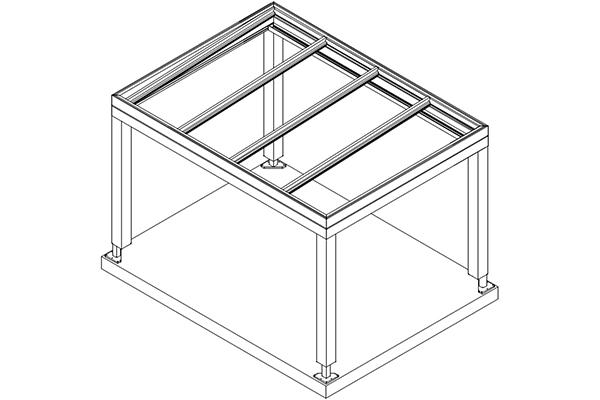 Skizze Aluminium Flachdach für Terrassenüberdachung - Freistehend