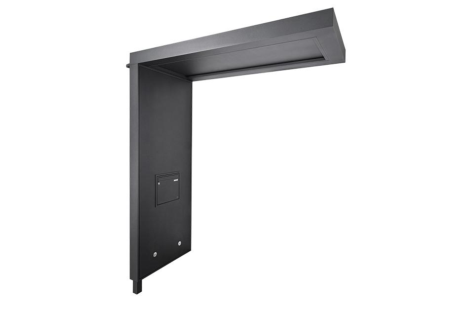 portal Flachdachvordach mit Seitenteil und integriertem Briefkasten und LED Beleuchtung
