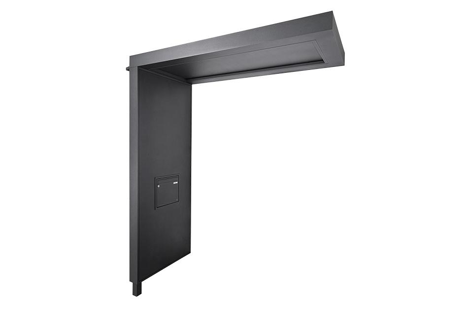 portal Flachdachvordach mit Seitenteil und integriertem Briefkasten